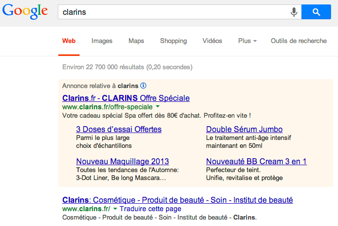 clarins_adwords